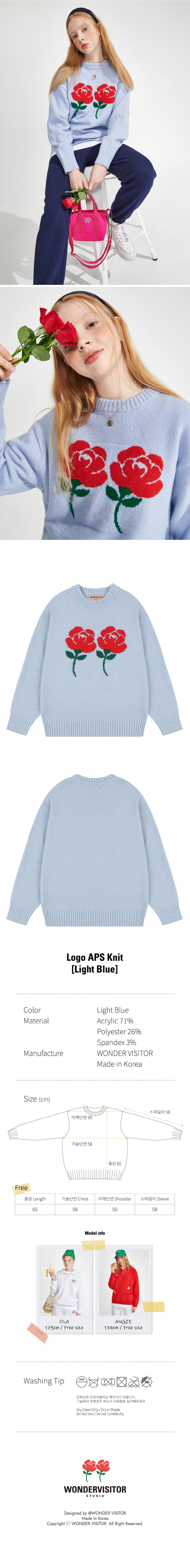 원더 비지터(WONDER VISITOR) Logo APS Knit [Light Blue]
